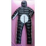 New unisex shiny nylon winter overalls wet look down suit 4 ways wear