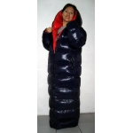 Neu unisex Wet-Look Glanz Nylon Puffa Wintermantel Daunenmantel Stepp Mantel Bubble Wendemantel M - 3XL