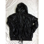 New shiny nylon wet look wind jacket rain jacket with locking zipper
