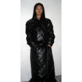 New unisex shiny nylon winter robe wet look down robe bathrobe night robe house coat dressing gown