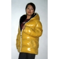 New unisex glossy nylon padded winter jacket wet look puffer reversible bubble down jacket size S-3XL