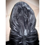 New shiny nylon wet look puffa mummy sleeping sack down sleeping bag black custom made