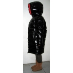 New unisex shiny nylon quilted winter coat wet look puffer down coat