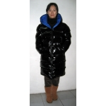 Neu unisex Wet-Look Glanz Nylon Puffer Daunenmantel Wintermantel Lack Stepp Mantel