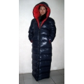 New unisex shiny nylon quilted winter coat wet look reversible down coat M - 3XL