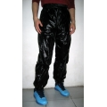 New unisex shiny nylon wet look sport trousers training jogging trouser black