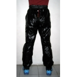 Neu unisex Glanz Nylon Wet-Look Trainingshose Jogginghose Sporthose Schwarz