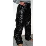 Neu unisex Glanz Nylon Wet-Look Hose Freizeit Hosen Schwarz M - 3XL