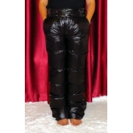 New unisex shiny nylon wet look puffer winter trousers down trousers black