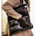 New wet look shiny nylon winter handbag down shoulder bag