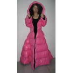 New wet look shiny nylon down dress winter dress bespoke M - 3XL
