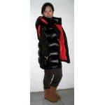 Neu 3 in 1 unisex Wet-Look Glanz Nylon Puffy Weste Winter Jacke Daunen Parka Stepp Mantel