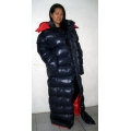New unisex shiny nylon winter parka down parka wet look winter coat down coat overfilled