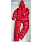 New shiny nylon wet look winter overalls straitjacket down diaper suit