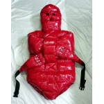 New shiny nylon wet look winter straitjacket down restraint diaper suit SD5001