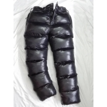 New unisex shiny nylon wet look puffer winter trousers down trousers overfilled
