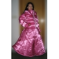 New wet look shiny satin down dress winter dress bespoke M - 3XL