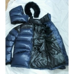 New shiny nylon wet look overfilled winter jacket down jacket with fur