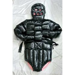 Neu Lack glanz Nylon Wet-Look Winter Spreizbody Zurückhaltung Daunen Windelbody
