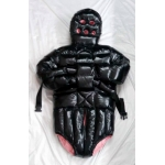 New shiny nylon wet look winter spreading romper restraint down body diaper