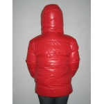New unisex shiny nylon padded winter jacket wet look puffy reversible down jacket size M-3XL