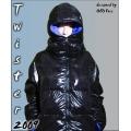 Neu Glanz Nylon Daunenjacke Winterjacke Größe XL blau