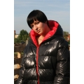 New shiny nylon winter jacket down jacket size L/XL red