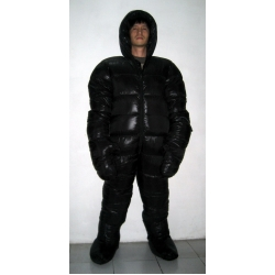 New unisex puffy shiny nylon duck down down suit wet look down overalls custom made