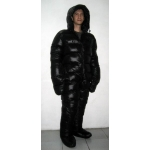 New unisex puffer shiny nylon winter overall wet look down suit custom made