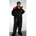 New unisex puffa shiny nylon goose down down suit wet look down overalls custom made