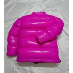 New unisex wet look shiny nylon winter jacket down jacket overfilled