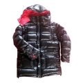 New unisex wet look shiny nylon down jacket down parka