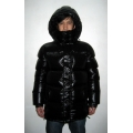 New unisex shiny nylon wet look puffy down jacket down parka