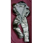 New unisex shiny silver wet look winter ski overalls sport suit S - 5XL