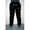 New unisex shiny nylon wet look puffer trousers sport trousers ski pants S - 3XL