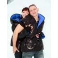 New unisex wet look shiny nylon padded winter waistcoat down vest size XL blue